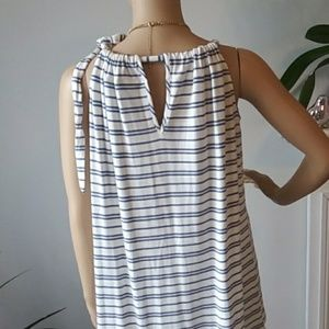 CAbi Tops - Cabi striped white/blue top